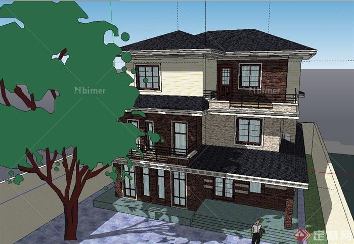 农村自建三层现代别墅建筑设计sketchup模型[原创