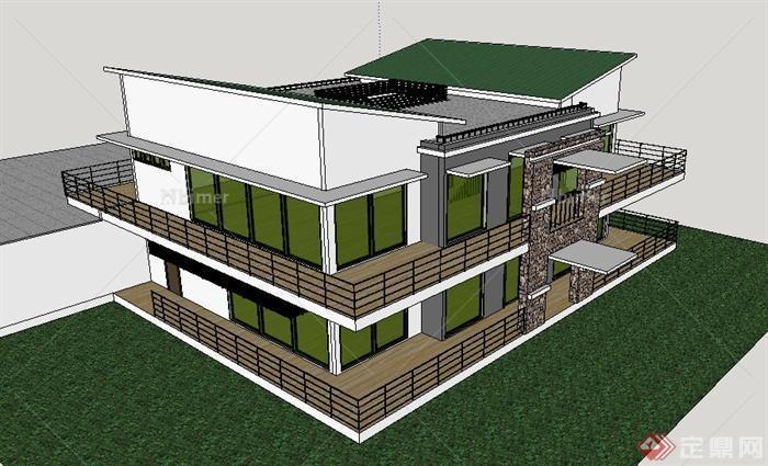 現代二層獨棟別墅住宅建筑su精品模型,建筑設計整體美觀大方,細節處理較好,材質處理得當,具有一定參考價值。