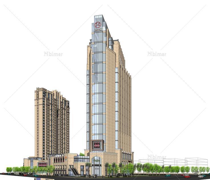 欧式新古典风格酒店商业综合体sketchup模型