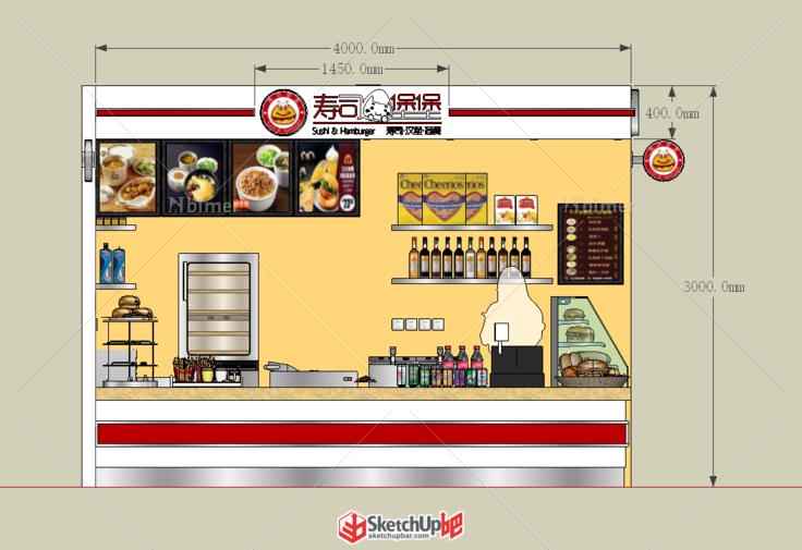 巴黎春天寿司汉堡店 厨具 面包 - sketchup模型库