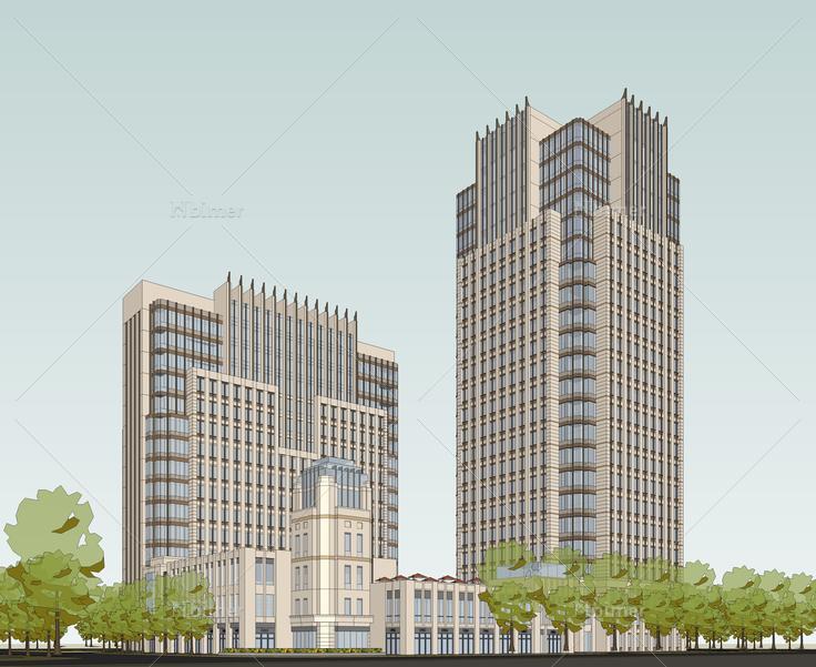 欧式新古典风格高层办公楼sketchup模型