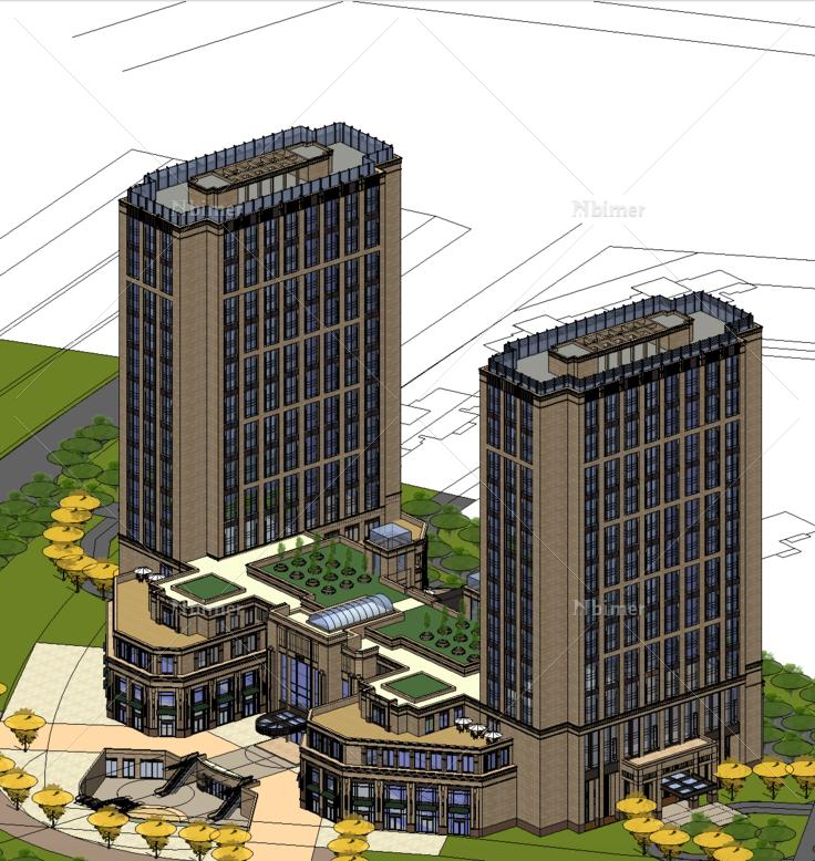 新古典风格办公楼及幼儿园sketchup模型
