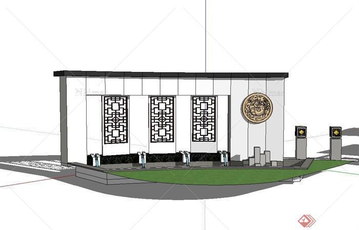 三种不同的新中式风格景墙设计su模型[原创]