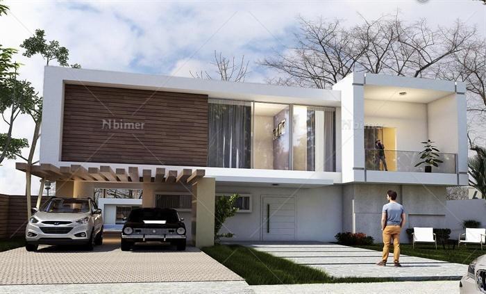 现代某双层别墅建筑su设计模型[原创]