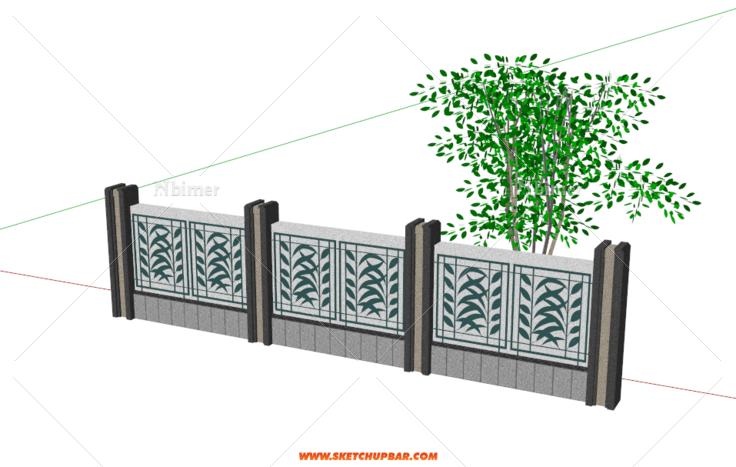 铁艺双层围墙(新中式) - sketchup模型库 - 毕马汇 nb图片