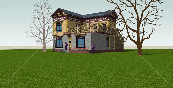 藏式独栋别墅(34592)su模型下载图片