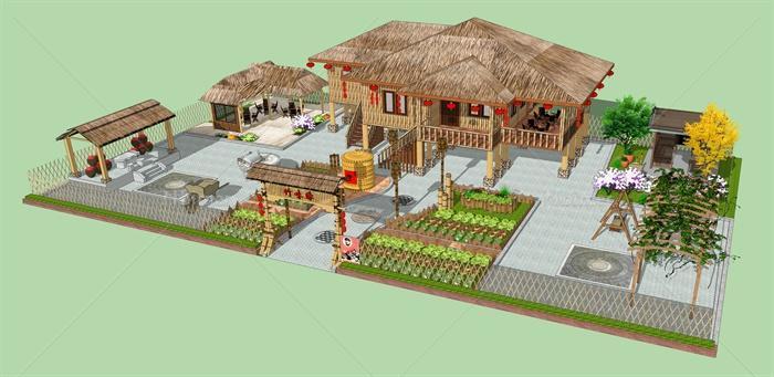 某古典中式风格农家院设计su模型