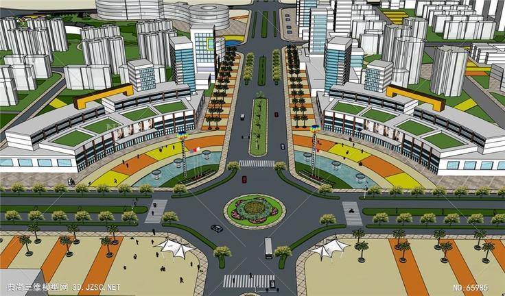 精细城市十字路口建筑景观规划设计-53m图片