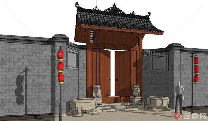 某新中式大门设计su模型(含围墙,狮子雕塑)[原图片