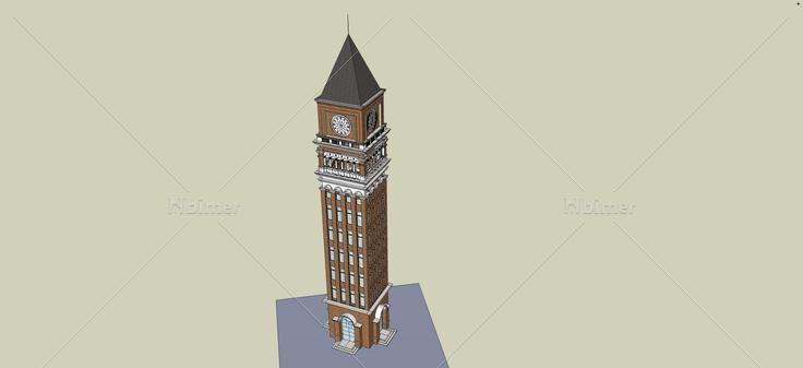 欧式风格钟楼(46077)su模型下载