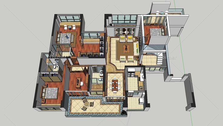 300平面的跃层户型家装设计(83439)su模型下载