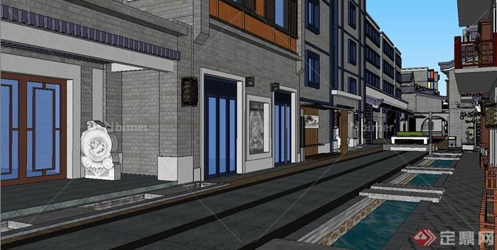 新中式风格商业街及建筑设计su模型[原图片