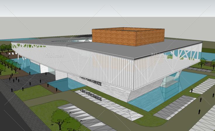 大连长兴岛规划展览馆建筑设计方案sketchup