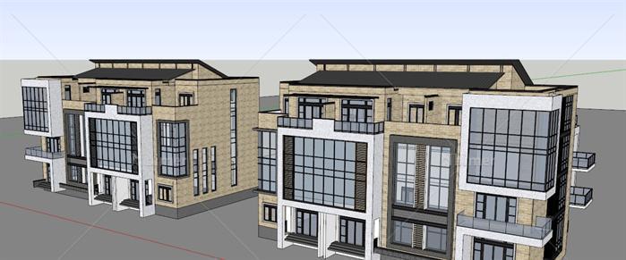 某欧式箭头四层办公楼建筑设计SU模型如何在word上绘制风格图片