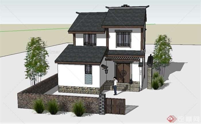 某两层中式农房建筑设计su模型[原创]
