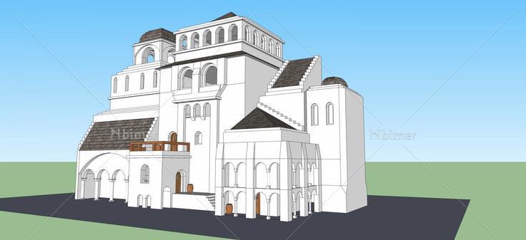 欧式风格城堡(43378)su模型下载