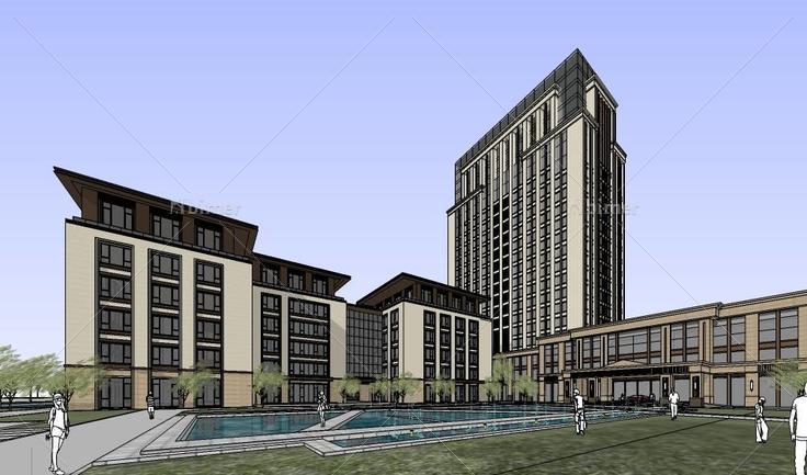 现代风格邻水风景优美办公楼设计建筑模型(11242