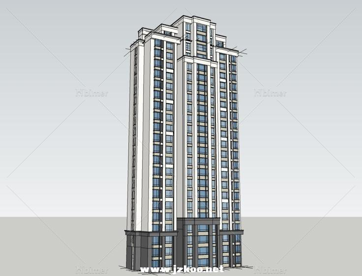 b欧式高层住宅 - sketchup模型库 - 毕马汇 nbimer