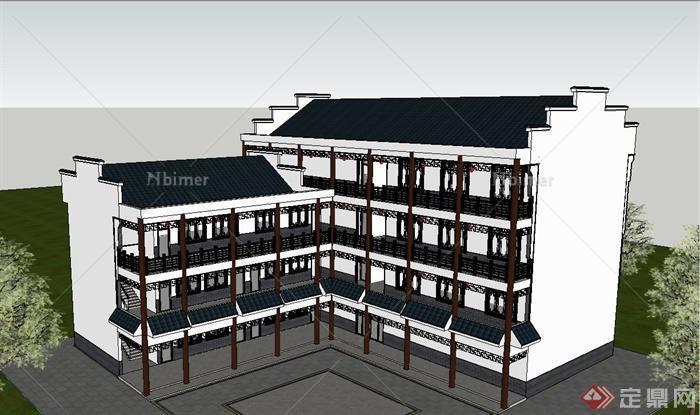 古典中式基础四层办公楼建筑设计SU模型机械v基础徽派02185自考图片