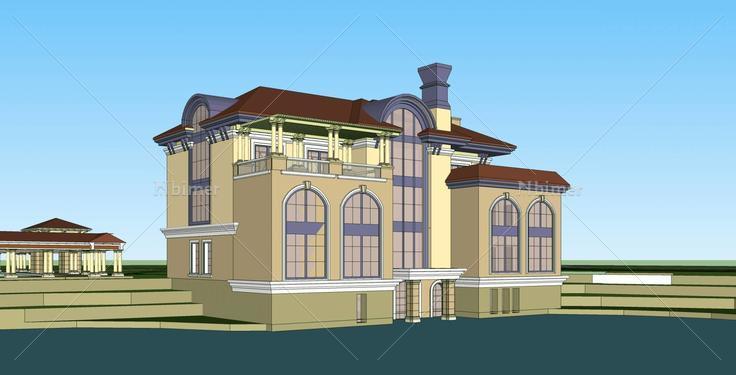 欧式独栋别墅(35772)su模型下载 - sketchup模型库