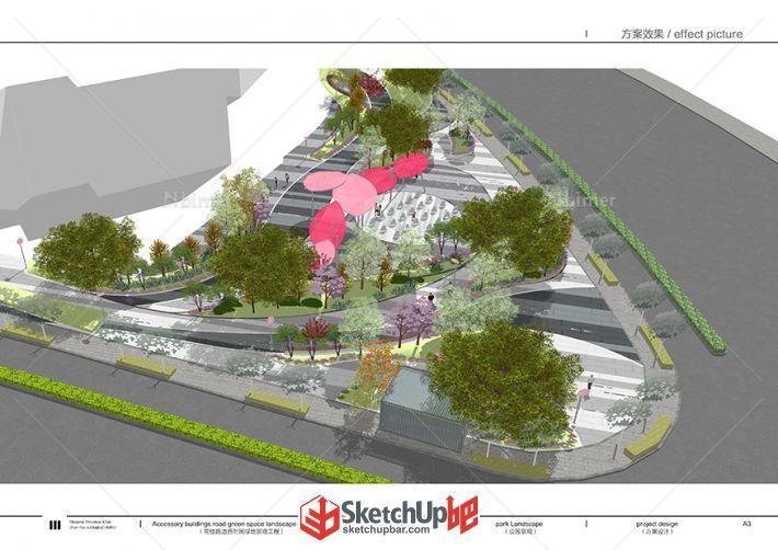 街角广场及带状绿地景观设计