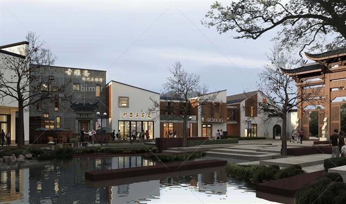 某现代中式风格详细非遗文化商业街建筑设计su模图片