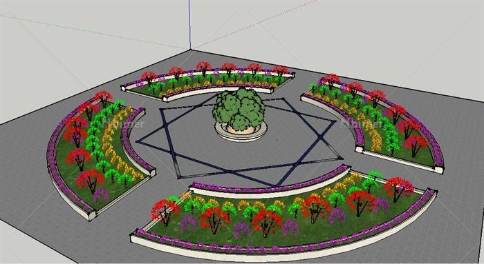 圆形广场扇形花圃分层花圃设计su模型[原创]图片