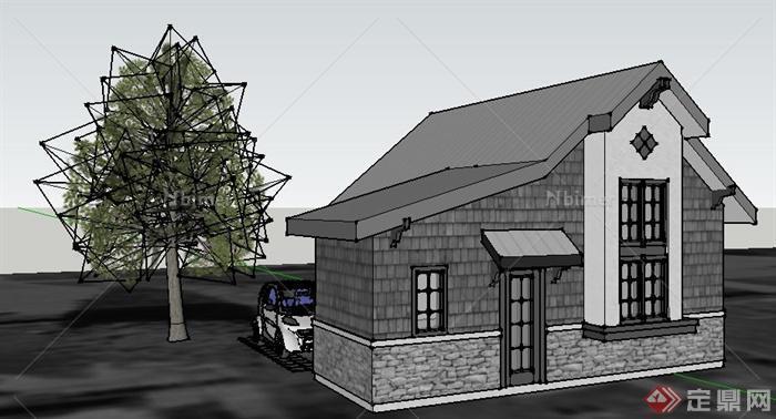 一栋现代中式民房住宅建筑设计su模型