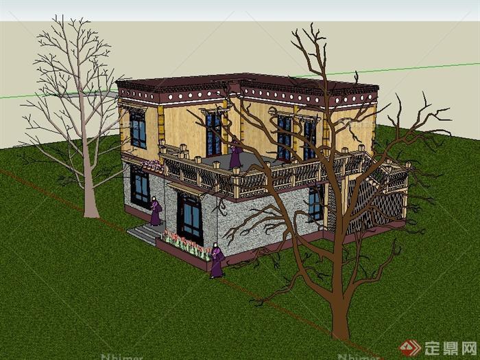 藏式风格别墅住宅楼设计su模型[原创]图片