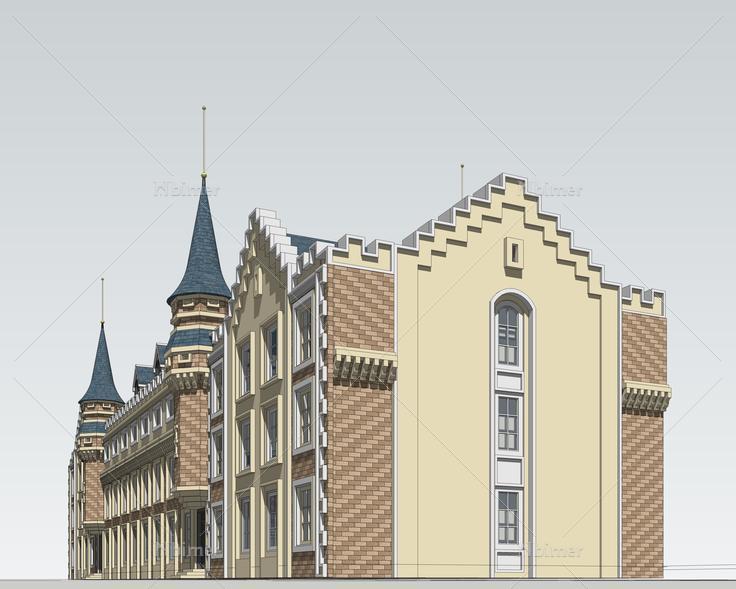 欧式风格多层宿舍楼sketchup模型