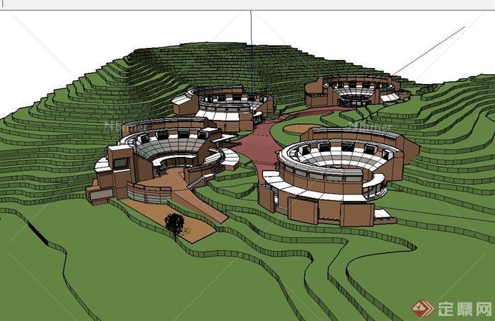 山地度假酒店建筑设计su模型[原创]图片