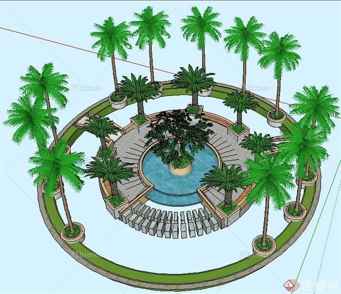 现代风格圆形组合景观水池su模型