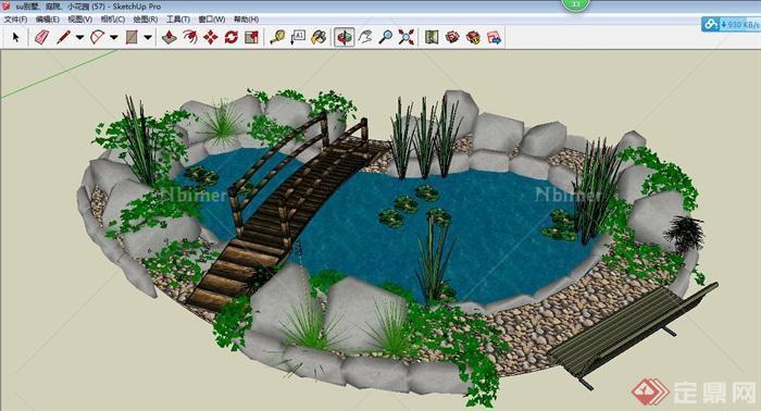 园林景观池塘组合景观su模型