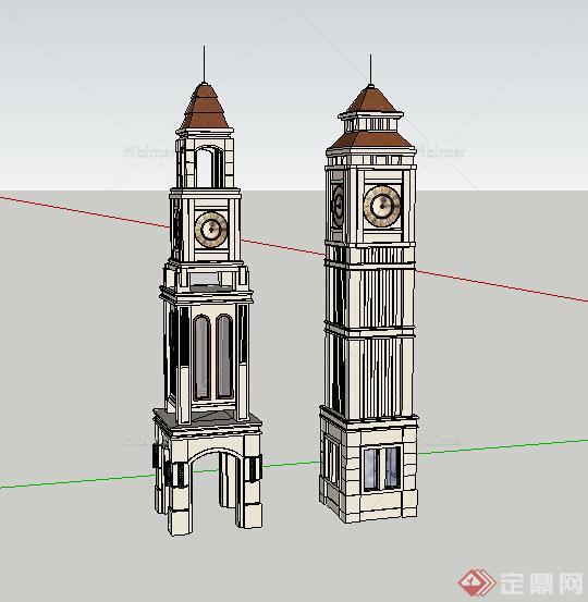 某欧式武平钟楼设计su模型素材图片