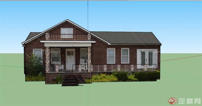 某欧式住宅一层图片建筑设计SU模型新疆楼房装修设计城镇图片