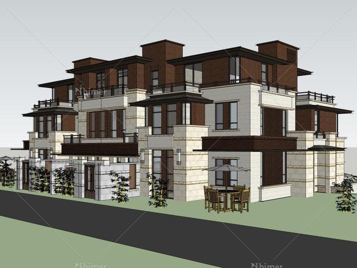 联排别墅,现代主义风格,3层层三型别墅楼的正方图片