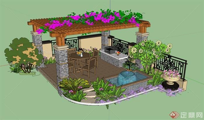 庭院花架组合景观设计su模型