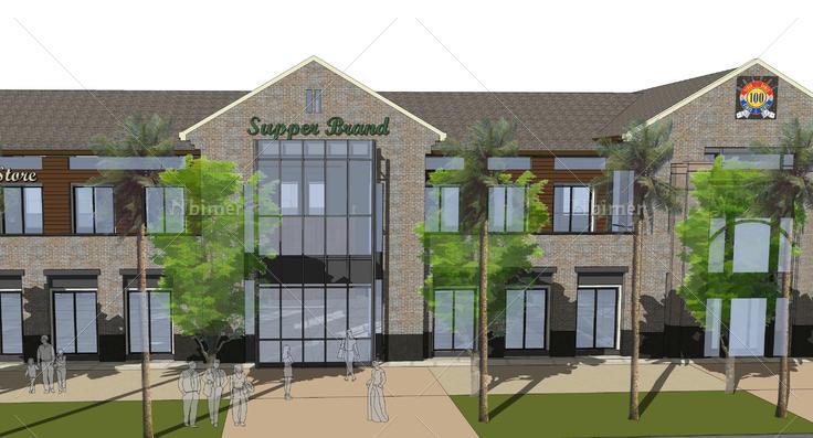 后现代风格两层沿街商业建筑sketchup模型