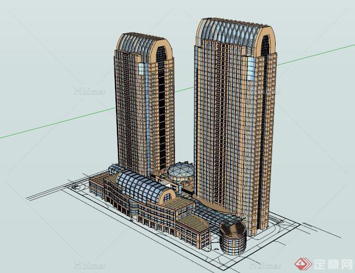 欧式大气高层办公建筑设计su模型[原创]