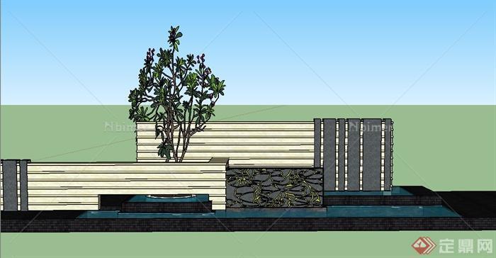 现代中式水景墙与树池设计su模型