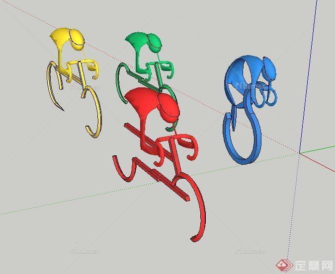 彩色自行车雕塑设计su模型