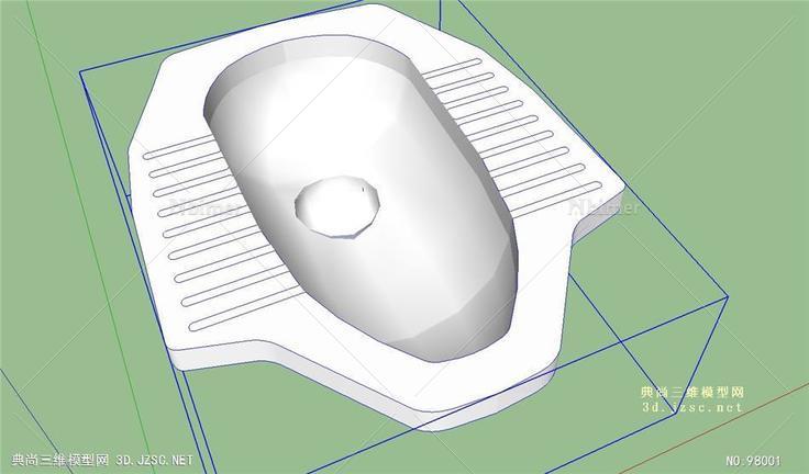 蹲式中国普通便盆厕所的skp模型