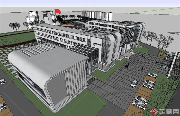 现代风格多层倒圆角学校建筑设计su模型