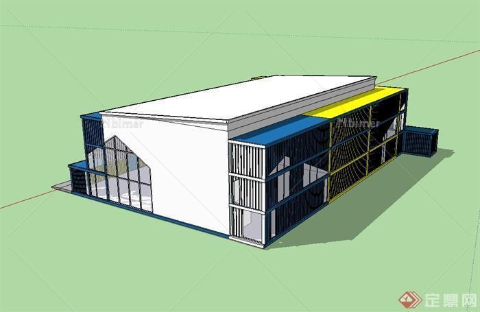 现代风格集装箱展览馆建筑设计su模型[原创]