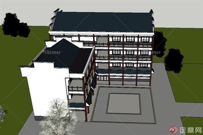 古典中式徽派四层办公楼建筑设计SU模型水杯模具设计毕业设计图片