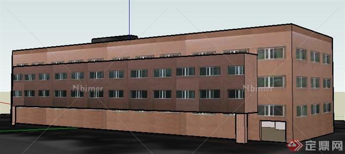 现代四层学校办公楼建筑设计su符号平面设计中模型的v学校图片