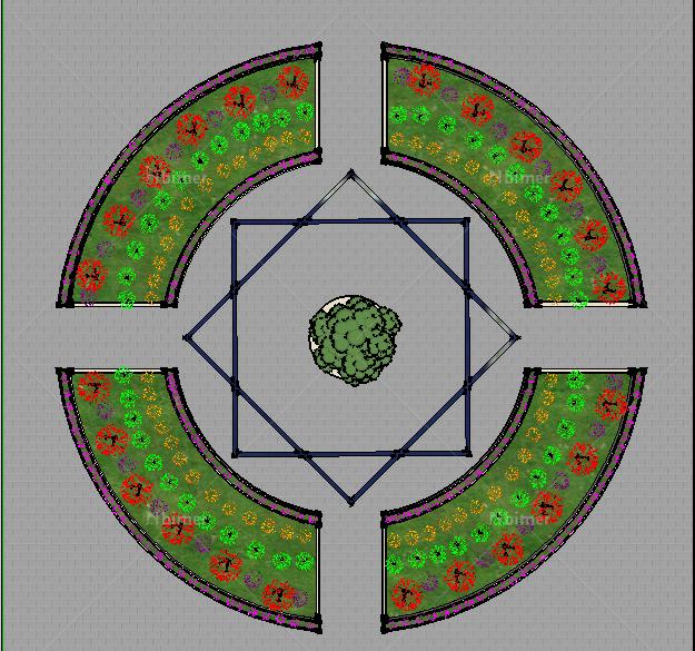 圆形广场扇形花圃分层花圃设计su模型[原创]