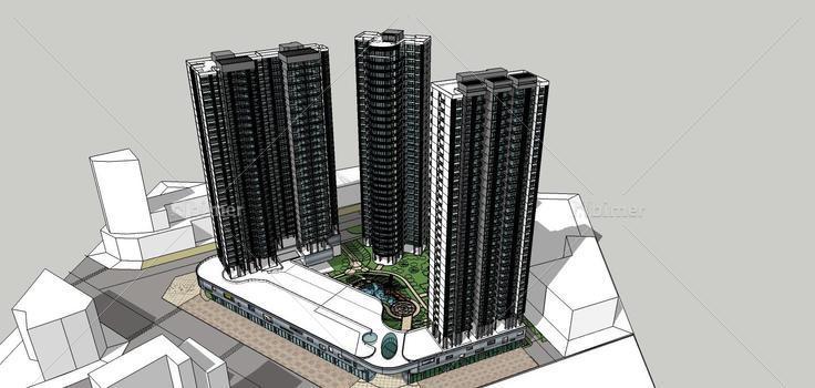 现代高层住宅楼带商业裙房(77538)su模型下载景观设计宇一图片