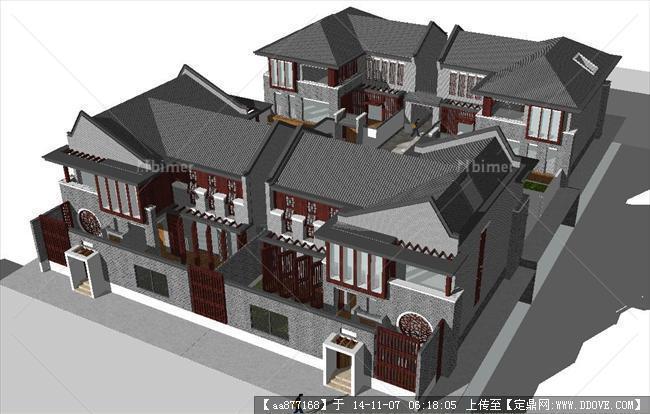 新中式联排四合院别墅精细su设计模型图片