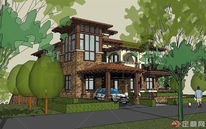 东南亚别墅湖畔模型原创su精致v别墅风格[建筑]悦心坡地成都别墅图片